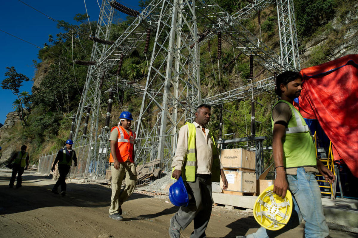 Construction workers at the Dagachhu Hydropower Development, which will export power to India. (Photo: Asian Development Bank/Flickr)