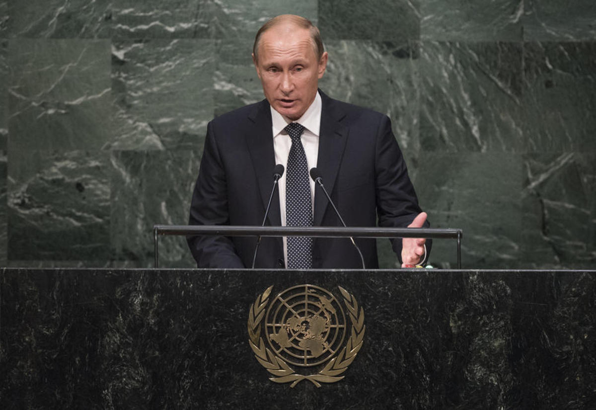 Vladimir Putin addresses the 70th session of the United Nations General Assembly in September. (Photo: United Nations/Cia Pak)