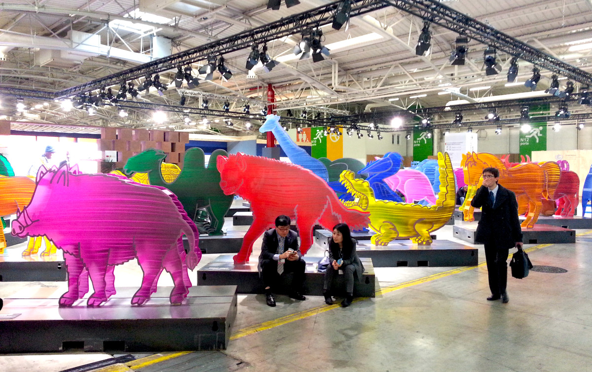 """Une Arche de Noé Pour le Climat,"" an installation of lucite animal figures created by Gad Weil and exhibited at the COP21 climate summit in Paris in December of 2015."