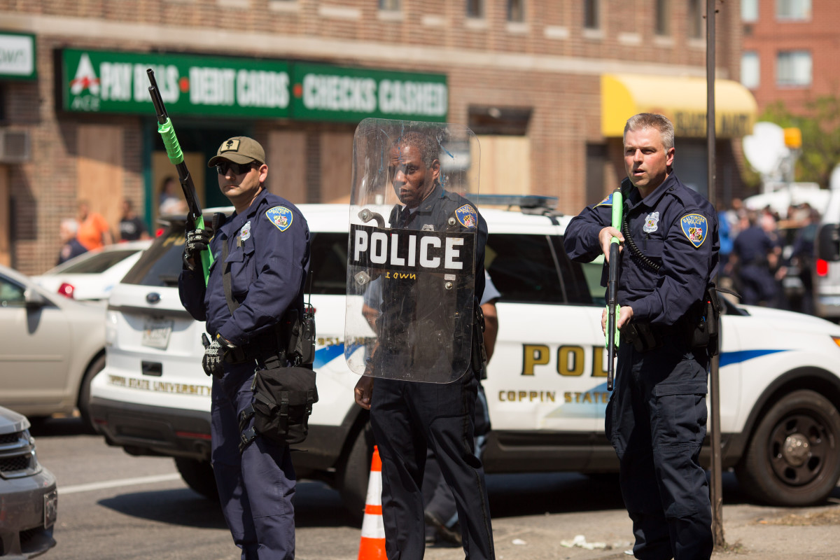 Police form a line to block North Avenue, near the site of recent riots and several blocks away from where Freddie Gray was arrested in May 2015, in Baltimore, Maryland. (Photo: Allison Shelley/Getty Images)