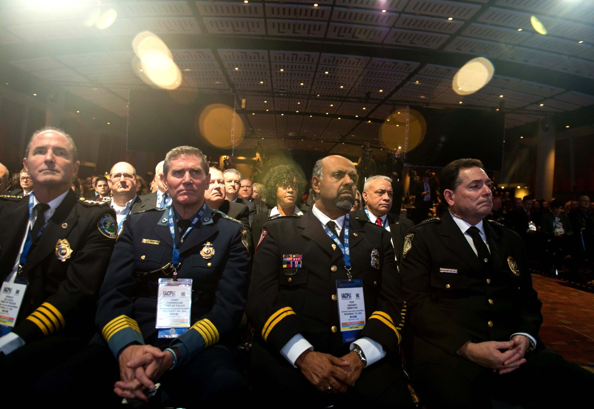 Law enforcement officers at the International Association of Chiefs of Police Annual Conference and Exposition in Chicago on October 27, 2015. (Photo: Nicholas Kamm/AFP/Getty Images)