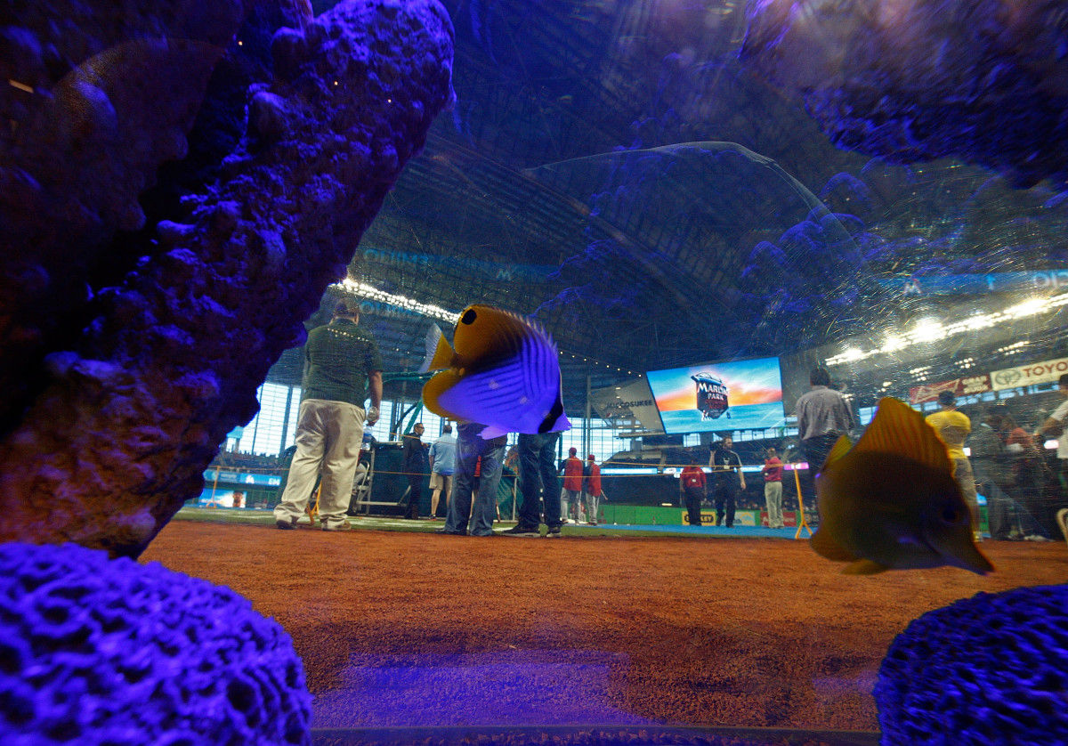 A general view of Marlin's Park through the fish tank behind home plate during Opening Day between the Miami Marlins and the St. Louis Cardinals on April 4, 2012. (Photo: Mike Ehrmann/Getty Images)