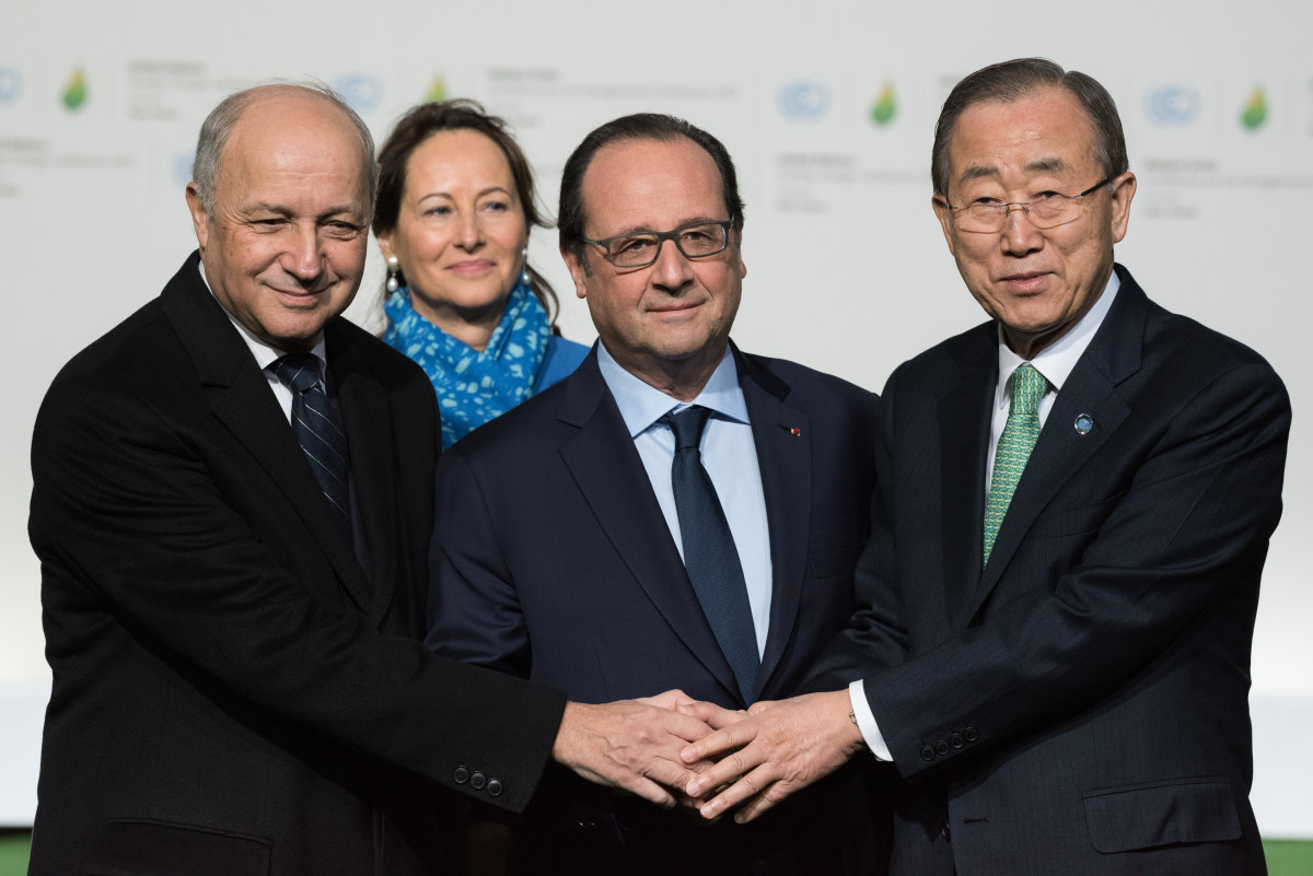 French Foreign Minister Laurent Fabius (left) with French President François Hollande and United Nations Secretary General Ban Ki-moon (Photo: Frederic Legrand/Shutterstock)