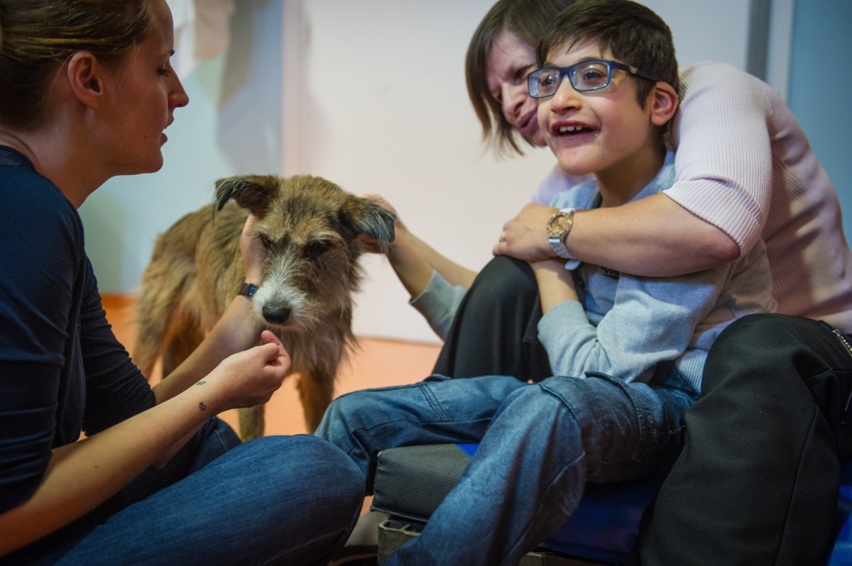 A therapist specialized in animal-assisted therapy works with a child with multiple disabilities during a  session of meditation with a dog named Hizzy. (Photo: Sebastien Bozon/AFP/Getty Images)