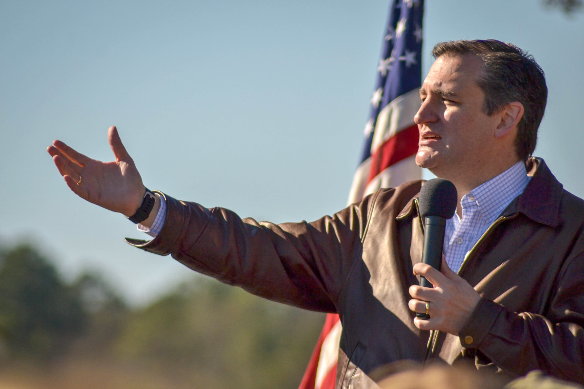 Senator Ted Cruz (R-Texas) speaks to a crowd during a campaign rally at Ottawa Farms on December 19, 2015, in Bloomingdale, Georgia.  (Photo: Nicholas Pilch/Getty Images)