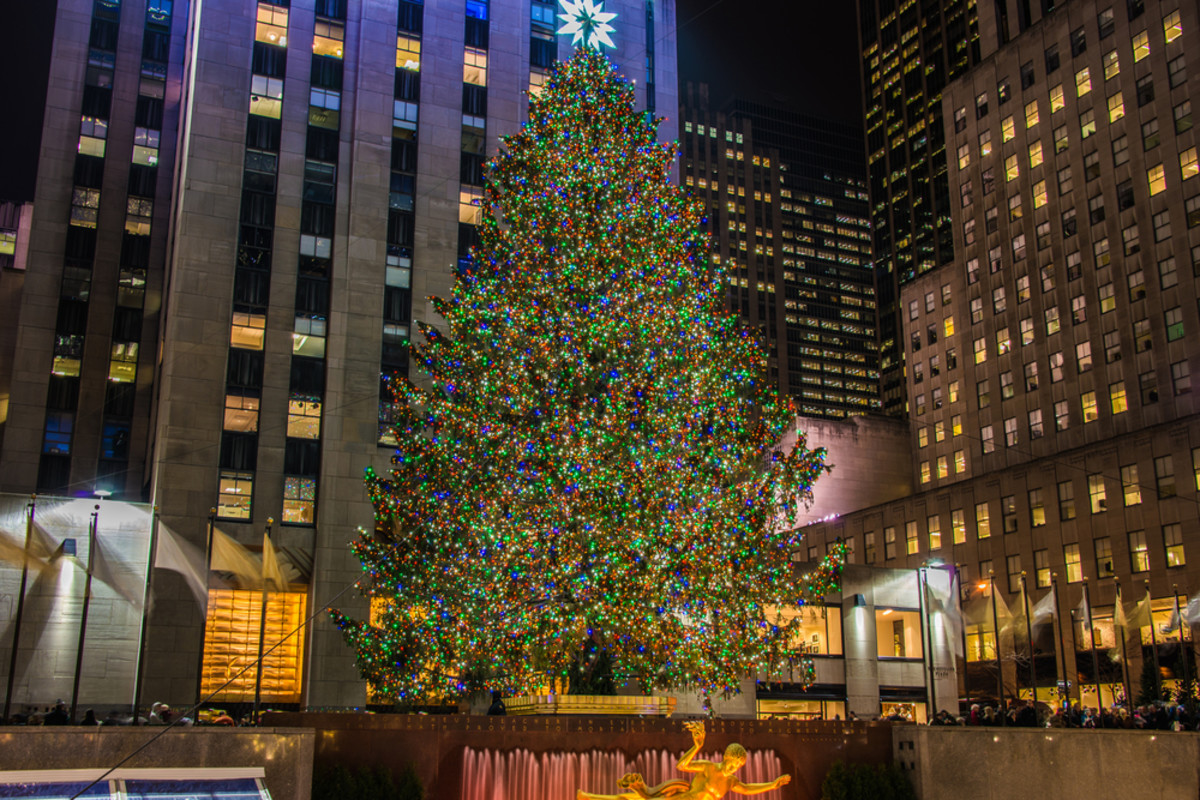 The Christmas tree at Rockefeller Center in New York City.