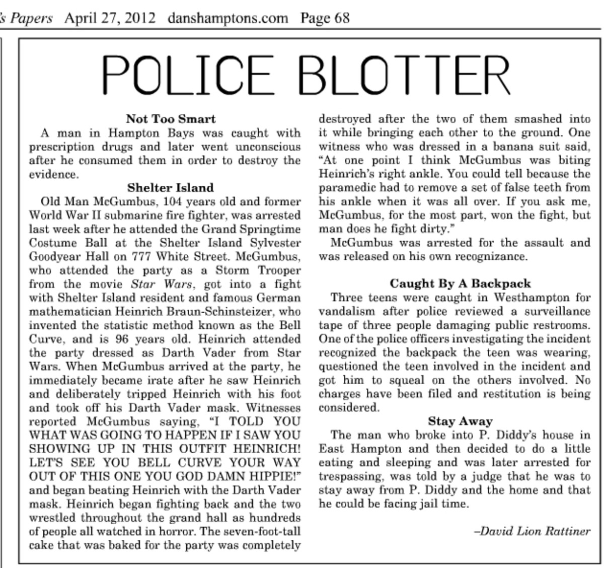 A typical police blotter from Dan's Papers. (Courtesy: Dan's Papers)