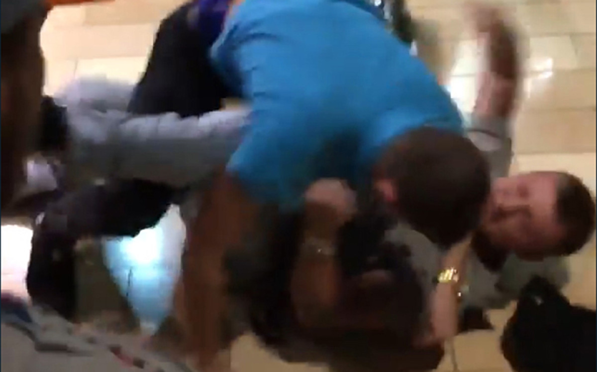 A scene from the brawl at Mall St. Matthews. (Photo: DaddyWeaknd/Twitter)