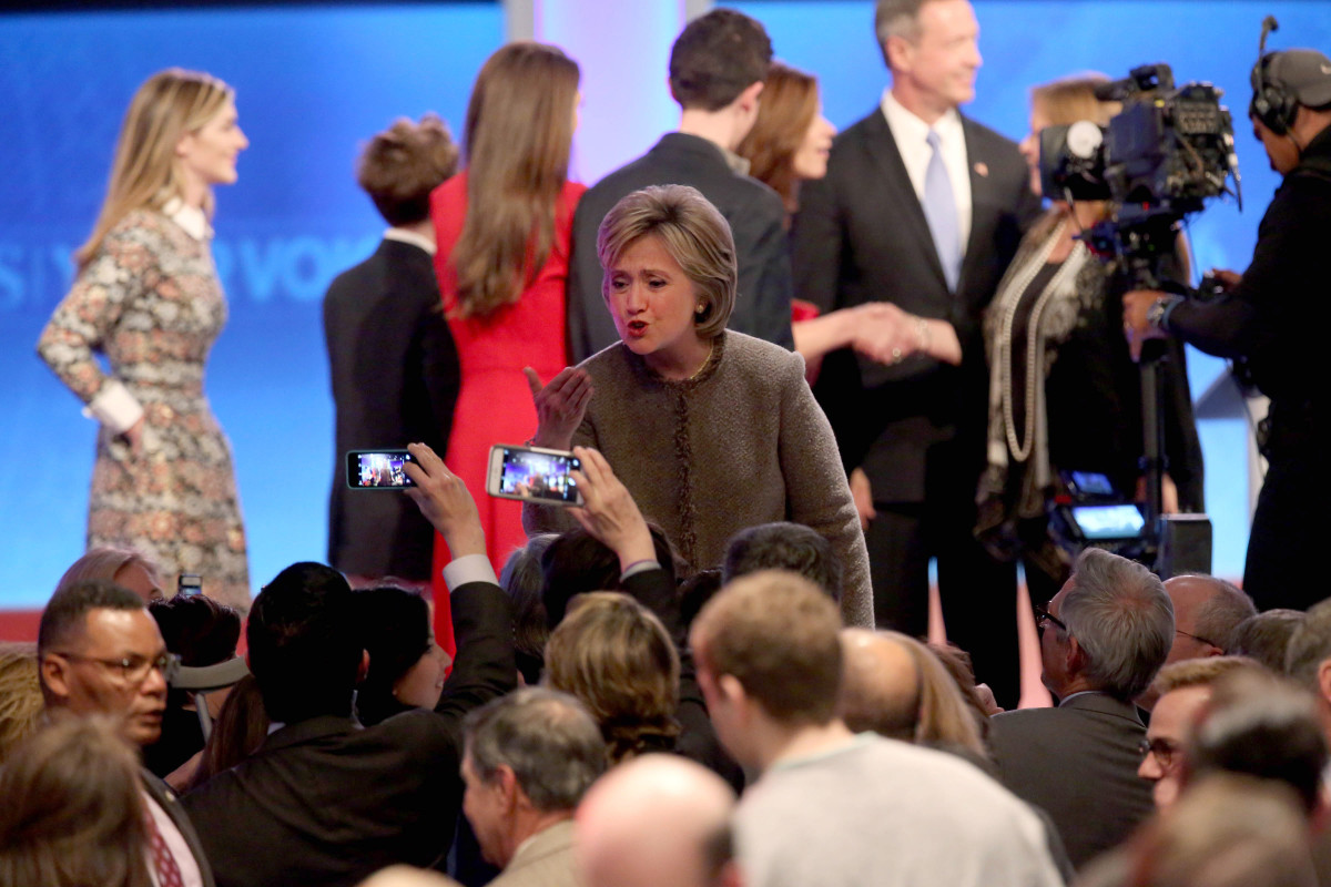 Democratic president candidate Hillary  Clinton greets people following the debate at Saint  Anselm College on December 19, 2015, in Manchester, New Hampshire. (Photo: Andrew Burton/Getty  Images)