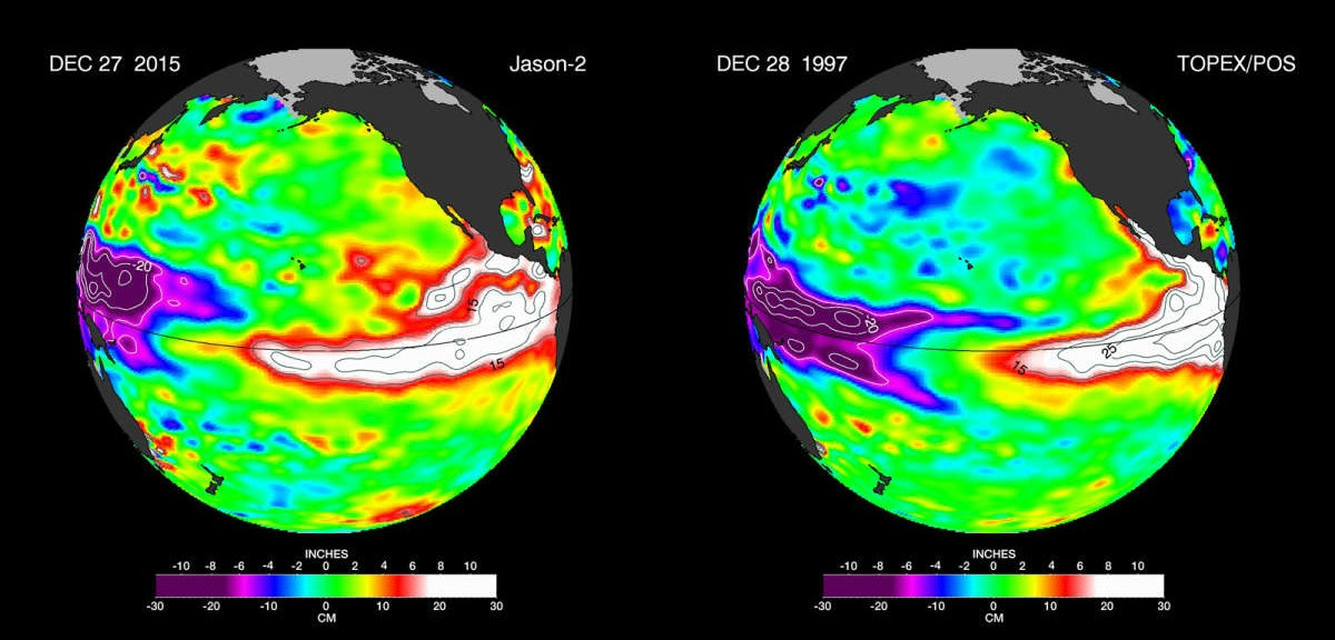 The latest satellite image of Pacific sea surface heights from Jason-2 (left) differs slightly from one 18 years ago from Topex/Poseidon (right). In December 1997, sea surface height was more intense and peaked in November. This year the area of high sea levels is less intense but considerably broader. (Credit: NASA/JPL-Caltech)