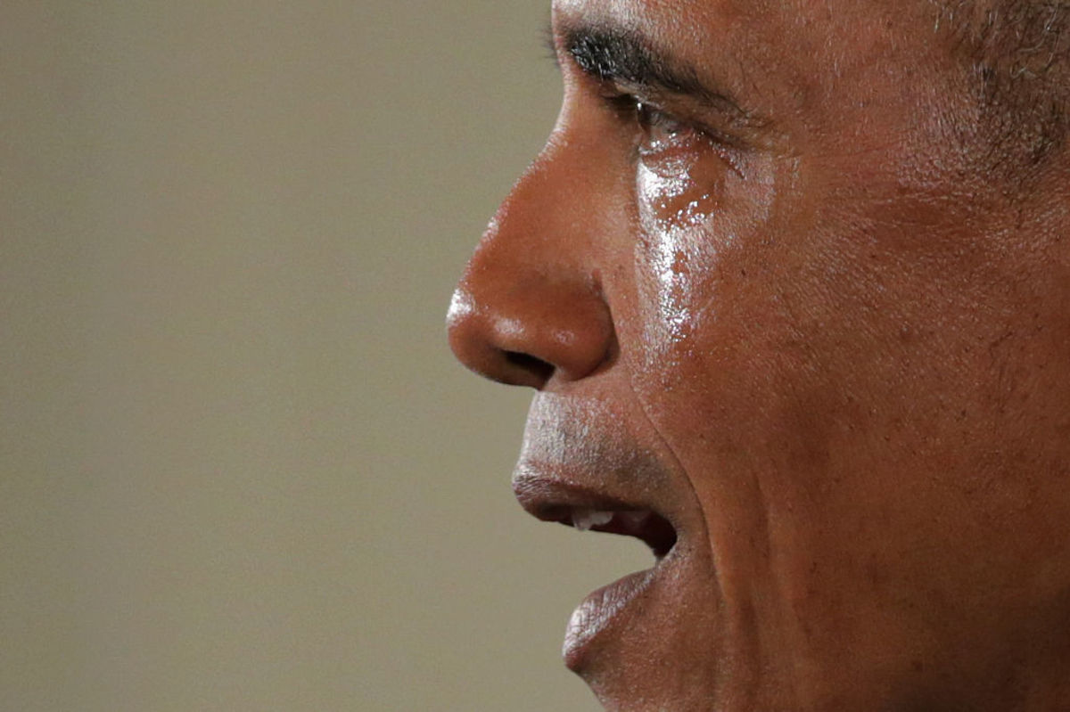 With tears running down his cheeks, President Barack Obama talks about the victims of the 2012 Sandy Hook Elementary School shooting and about his efforts to increase federal gun control in the East Room of the White House January 5, 2016, in Washington, D.C. (Photo: Chip Somodevilla/Getty Images)