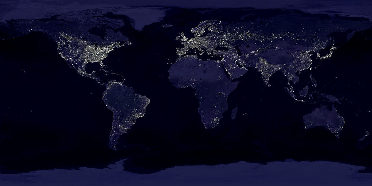 The Earth at night, a composited image of the world during the Anthropocene. (Photo: NASA/Wikimedia Commons)