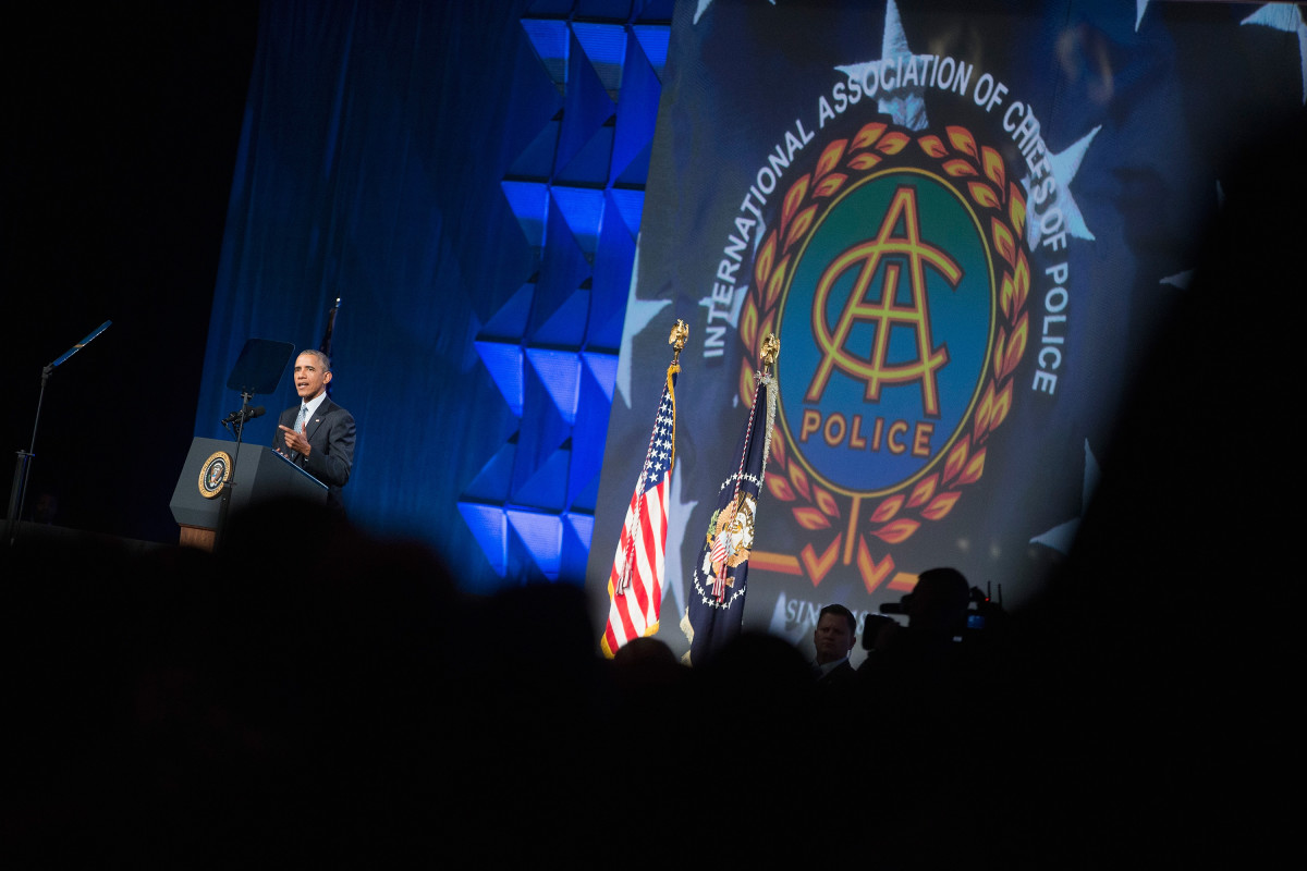 b32085ec4ee President Barack Obama addresses the 2015 convention of the International  Association of Chiefs of Police in Chicago