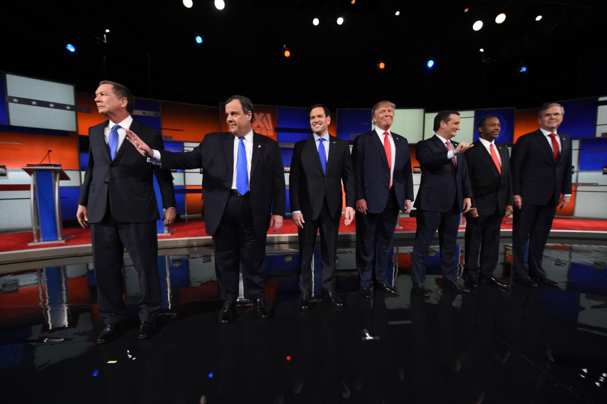 Republican presidential candidates Ohio Governor John Kasich, New Jersey Governor Chris Christie, Florida Senator Marco Rubio, businessman Donald Trump, Texas Senator Ted Cruz, retired neurosurgeon Ben Carson, and former Florida Governor Jeb Bush. (Photo: Timothy A. Clary/AFP/Getty Images)