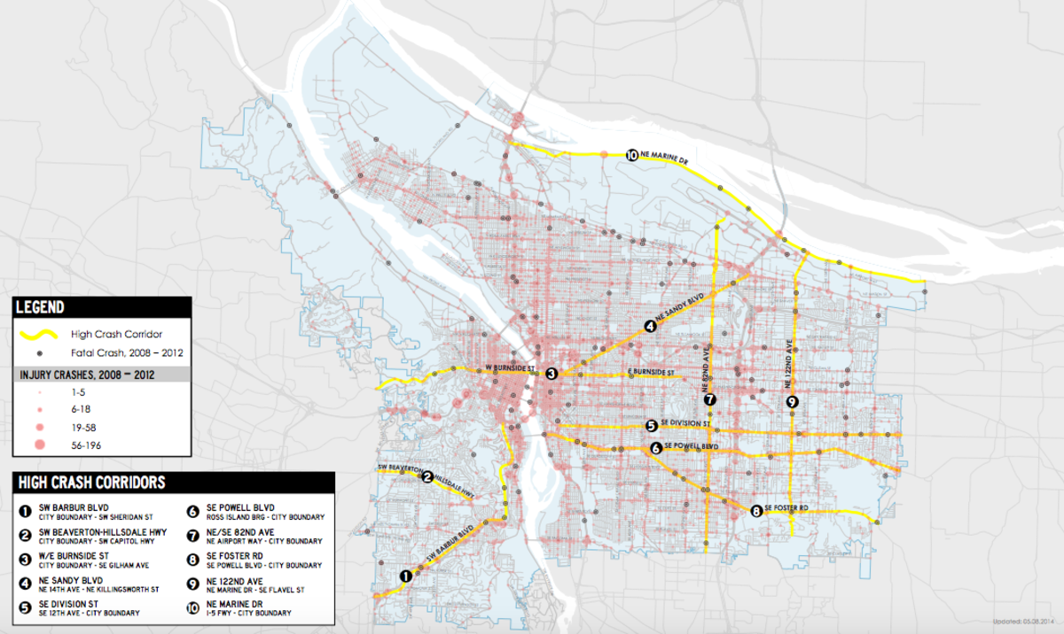 Map of high crash corridors in Portland, Oregon. (Map: Portland Bureau of Transportation)