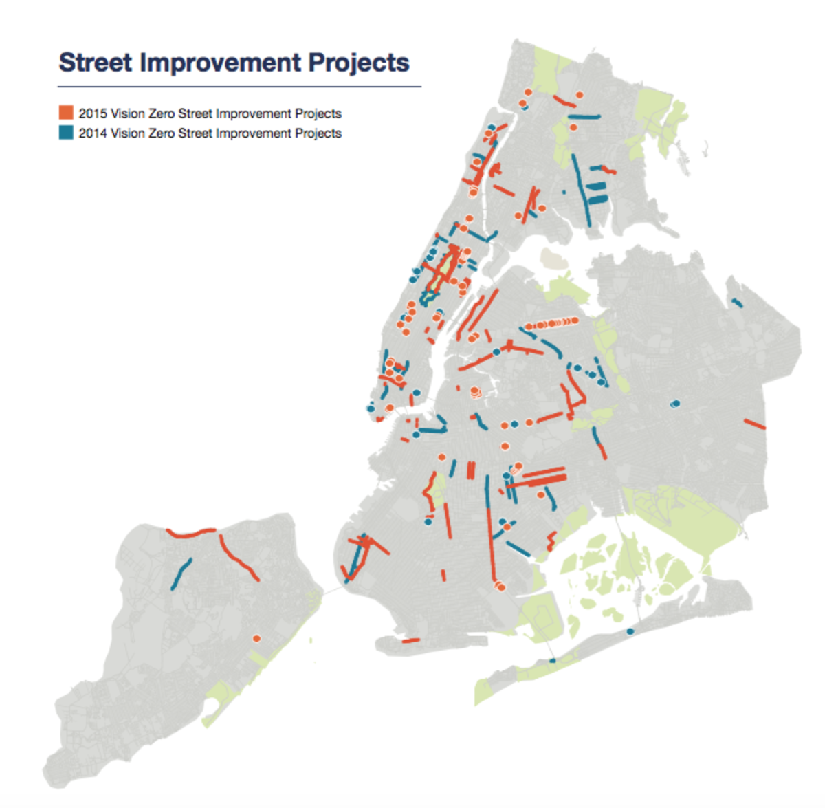 Map of street improvement projects. (Map: Vision Zero NYC)