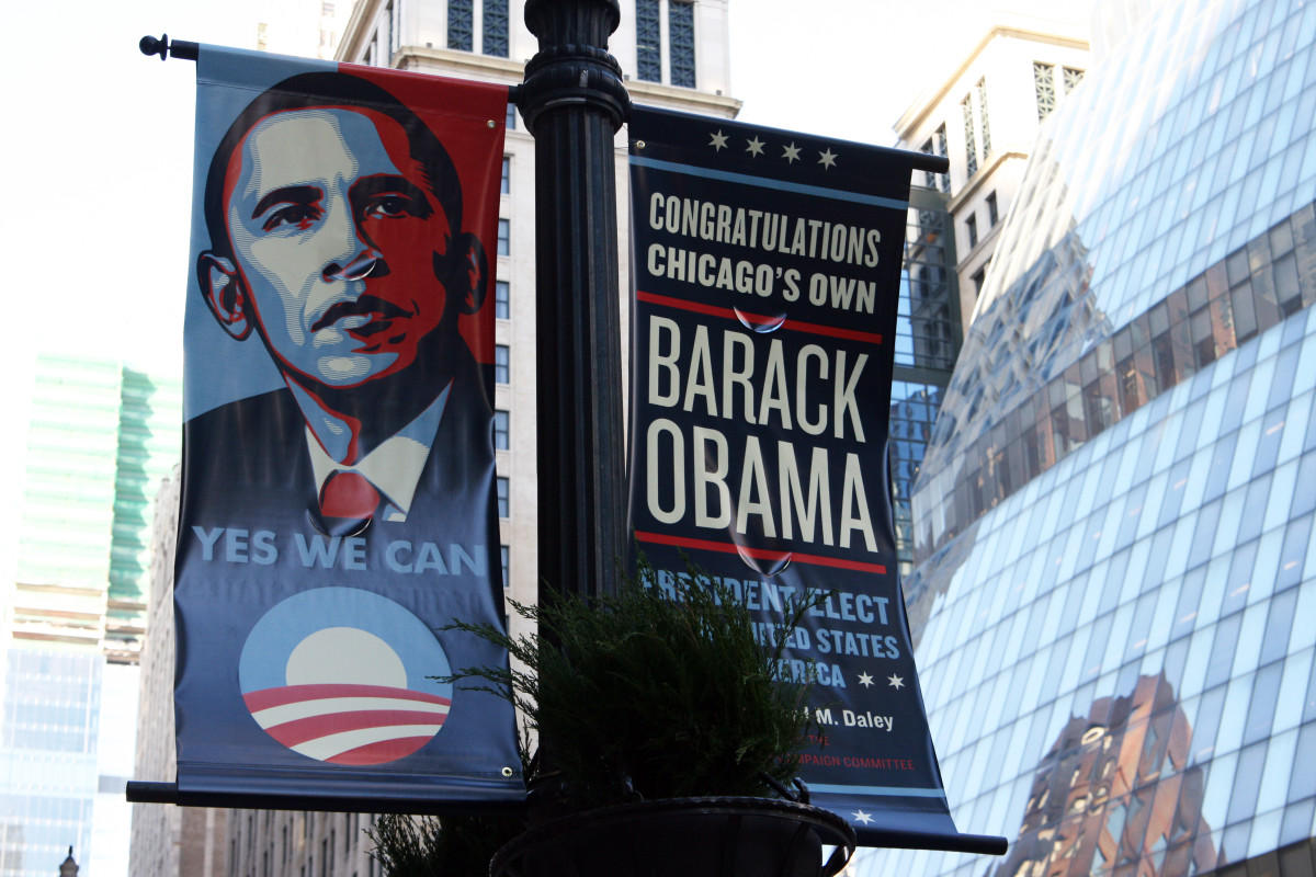Victory banners in Chicago after the election, incorporating design elements from the iconic Hope poster. (Photo: Wikimedia Commons)
