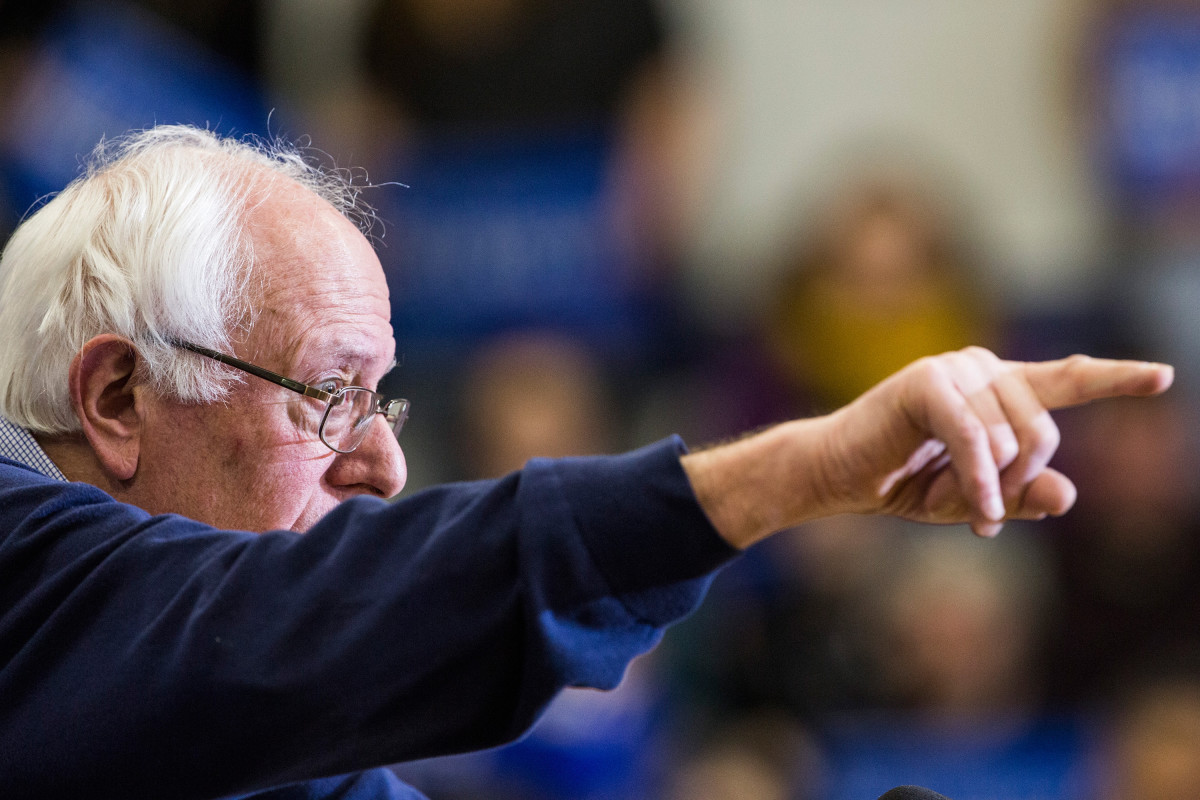 Bernie Sanders speaks at a campaign rally at Great Bay Community  College on February 7, 2016, in Portsmouth, New Hampshire. (Photo: Andrew Burton/Getty Images)