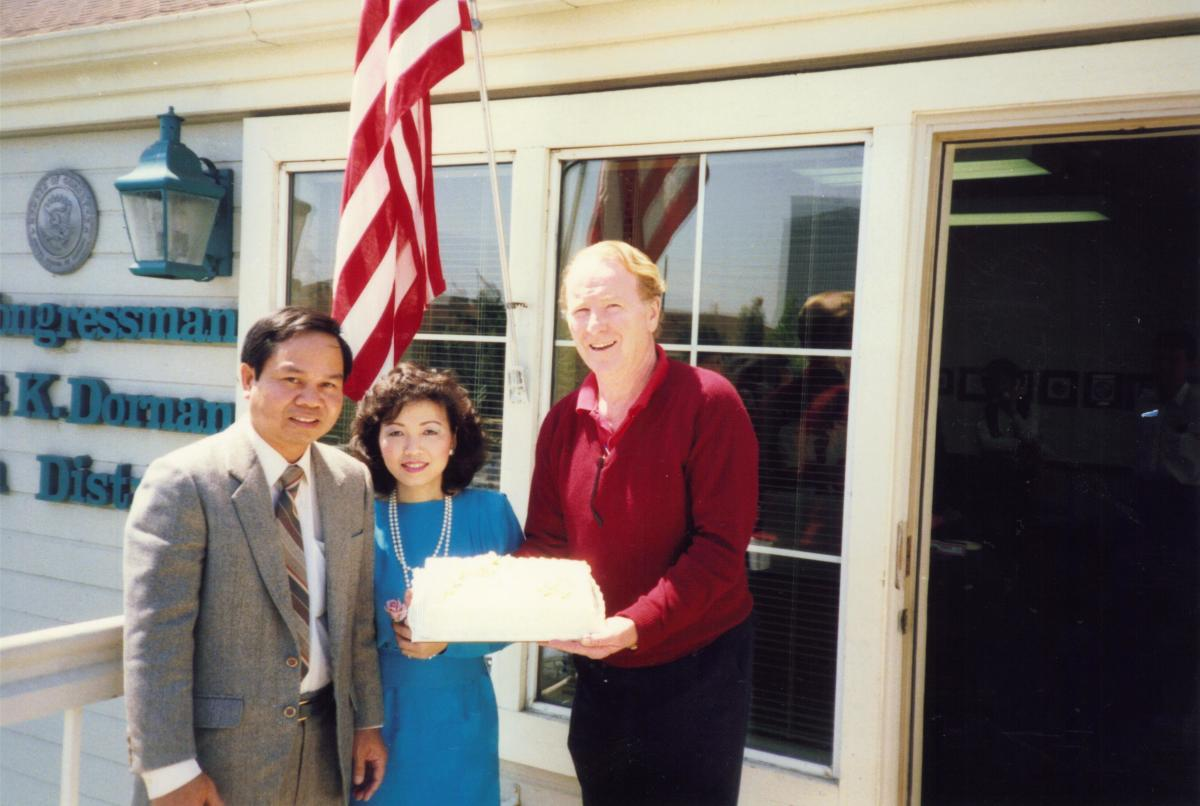 Lana and Nam Luu, with Congressman Robert Dornan. (Photo: Courtesy of Lana Luu)