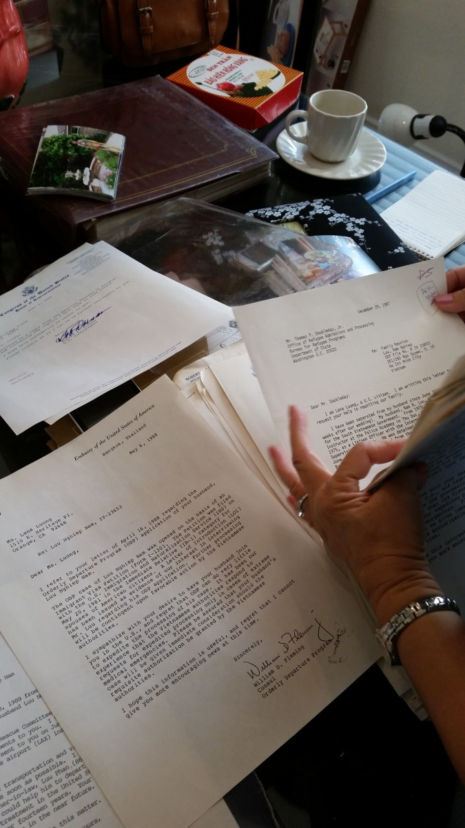 Copies of the letters Lana sent to various U.S. lawmakers, trying to get help to get her husband to the U.S., and, on the left, the responses by those lawmakers. (Photo: Courtesy of Lana Luu)