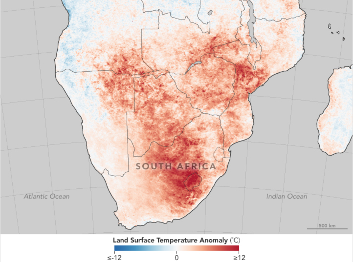 Land surface temperatures in southern Africa, December 2015. (Map: Jesse Allen and Joshua Stevens/NASA Earth Observatory)