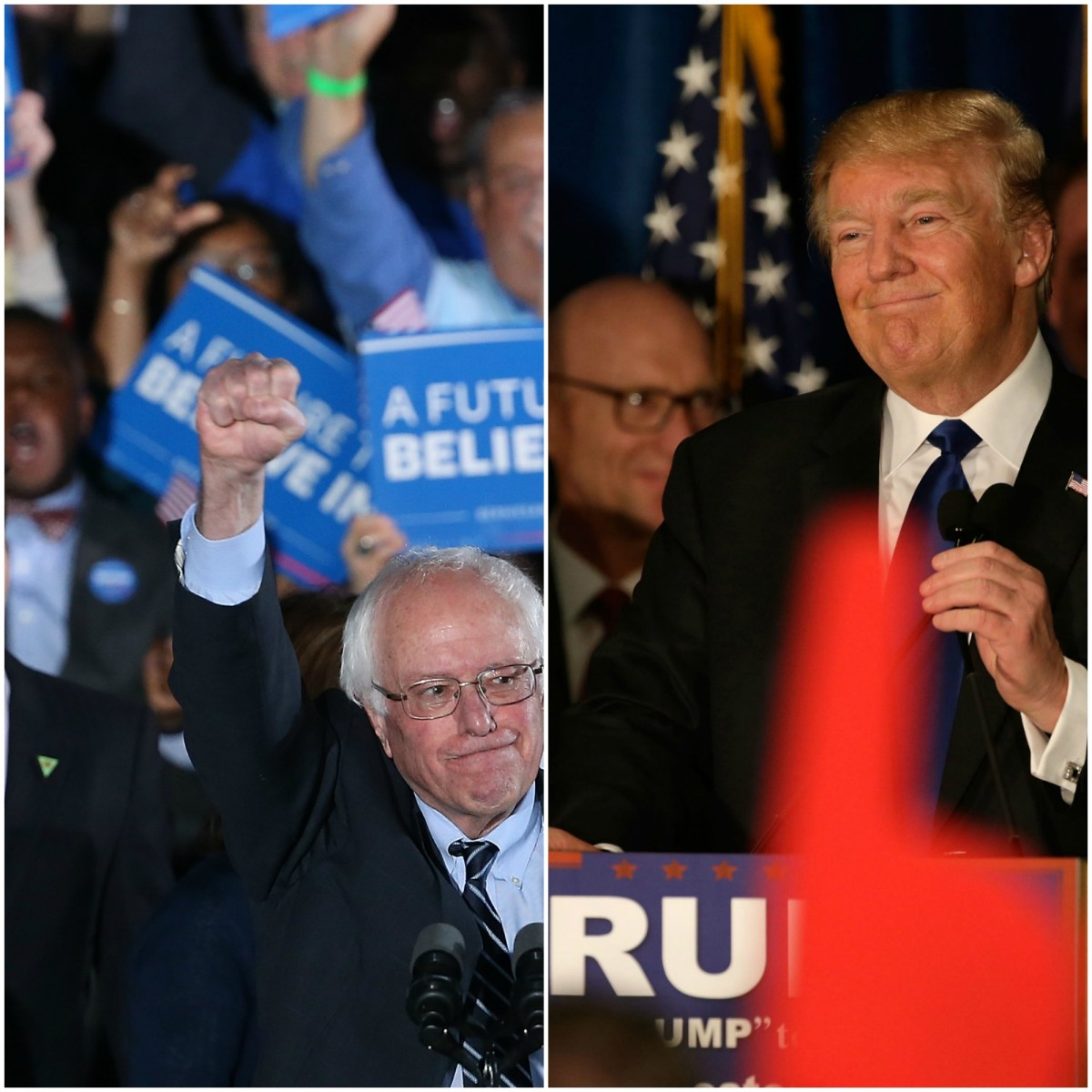 Bernie Sanders (left) and Donald Trump hold their respective rallies in New Hampshire. (Photos: Win McNamee/Getty Images; Matthew Cavanaugh/Getty Images)