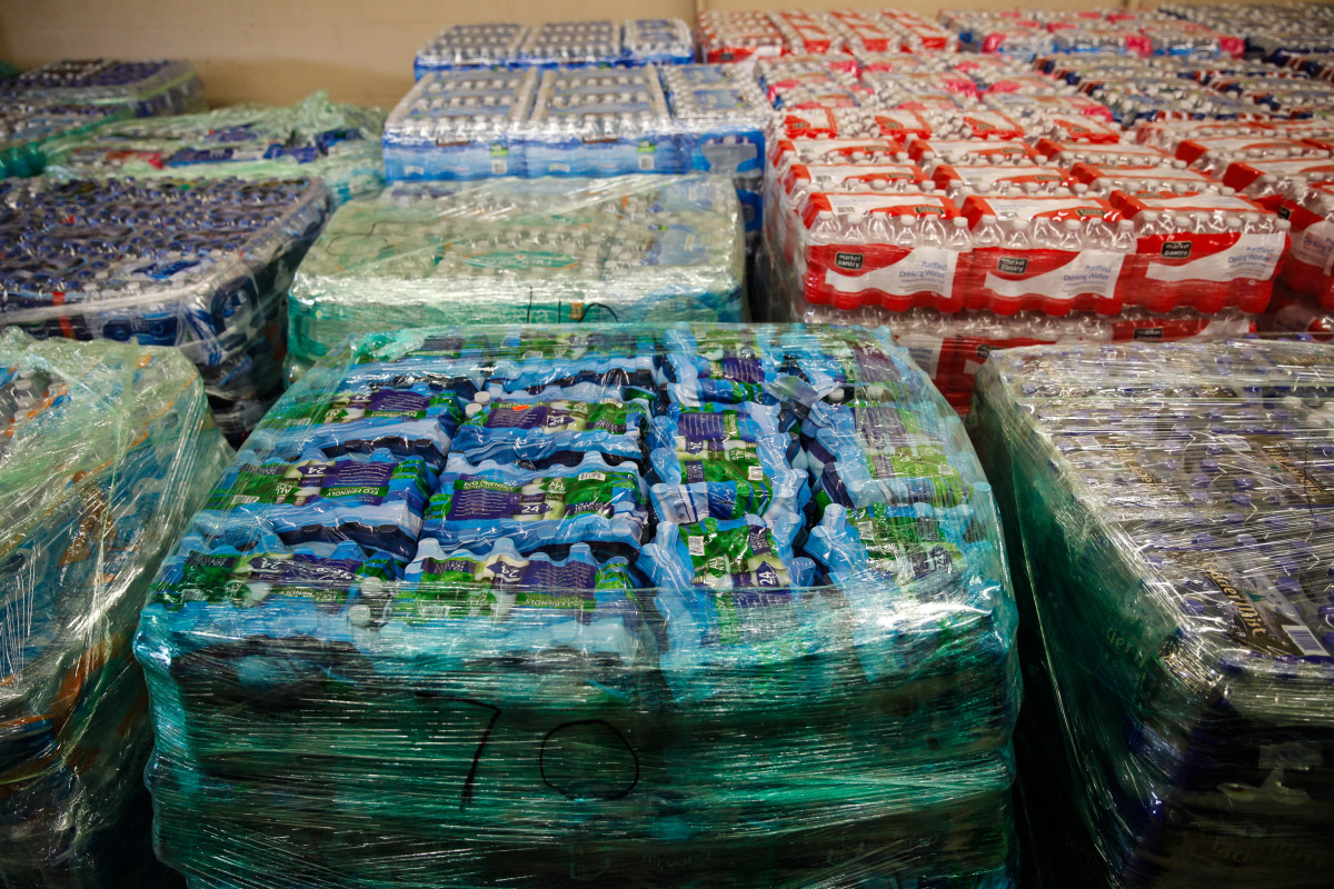 Cases of bottled water at a fire  station on February 7, 2016, in Flint, Michigan. (Photo: Sarah Rice/Getty Images)