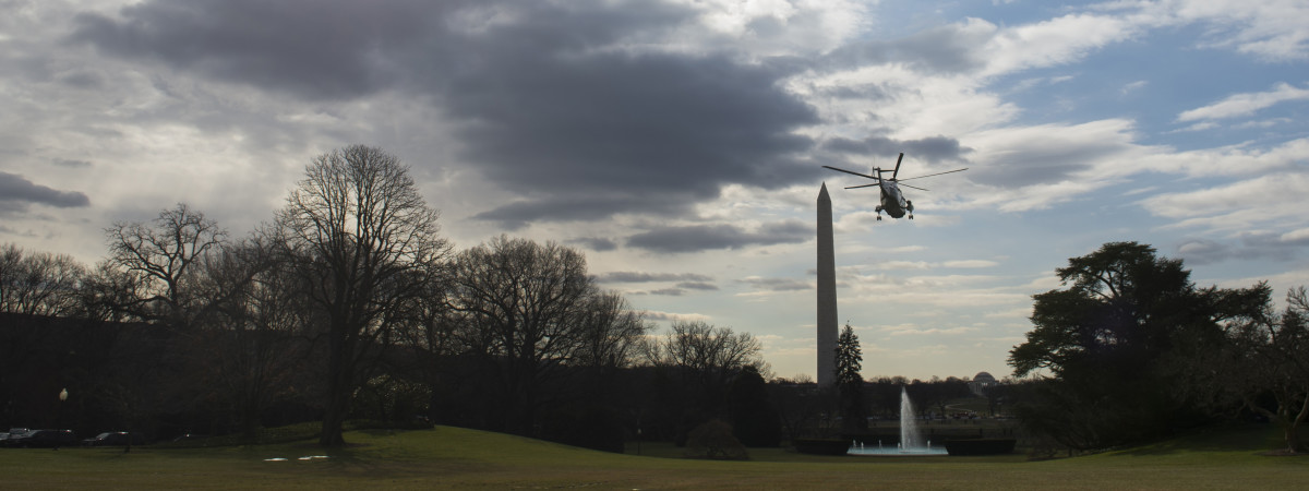 Marine One departs from the South Lawn of the White House in Washington, D.C., on February 10, 2016. (Photo: Saul Loeb/AFP/Getty Images)