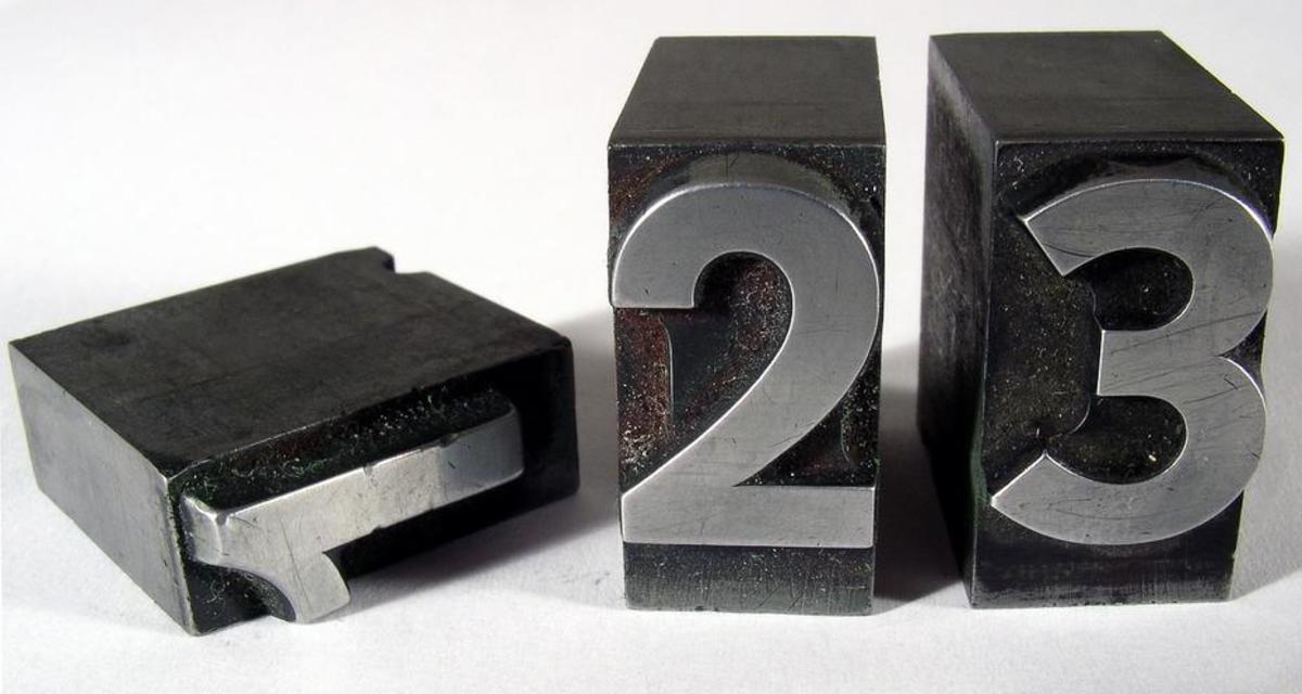 Lead number blocks for use in typesetting. (Photo: wilhei/Pixabay)