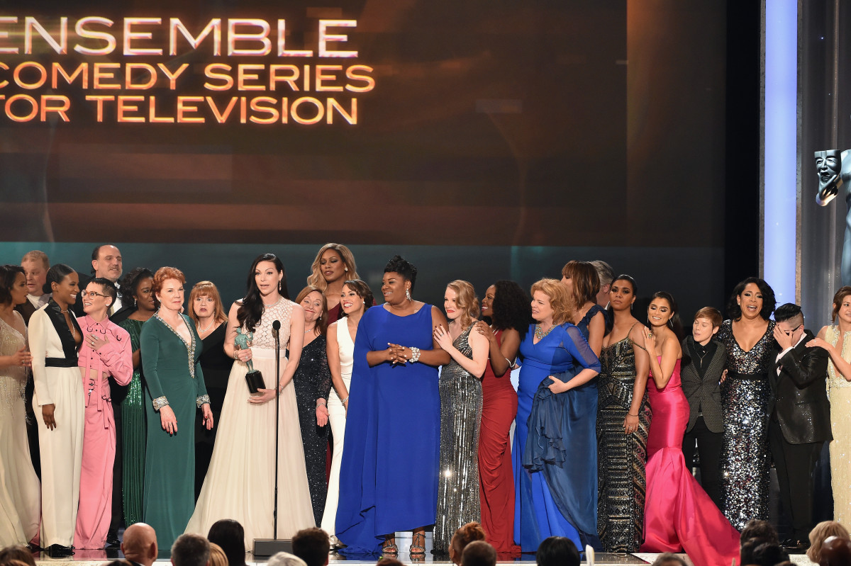 The cast of Orange Is the New Black accepts the award for Outstanding Ensemble in a Comedy Series during the Screen Actors Guild Awards on January 30, 2016. (Photo: Kevin Winter/Getty Images for Turner)