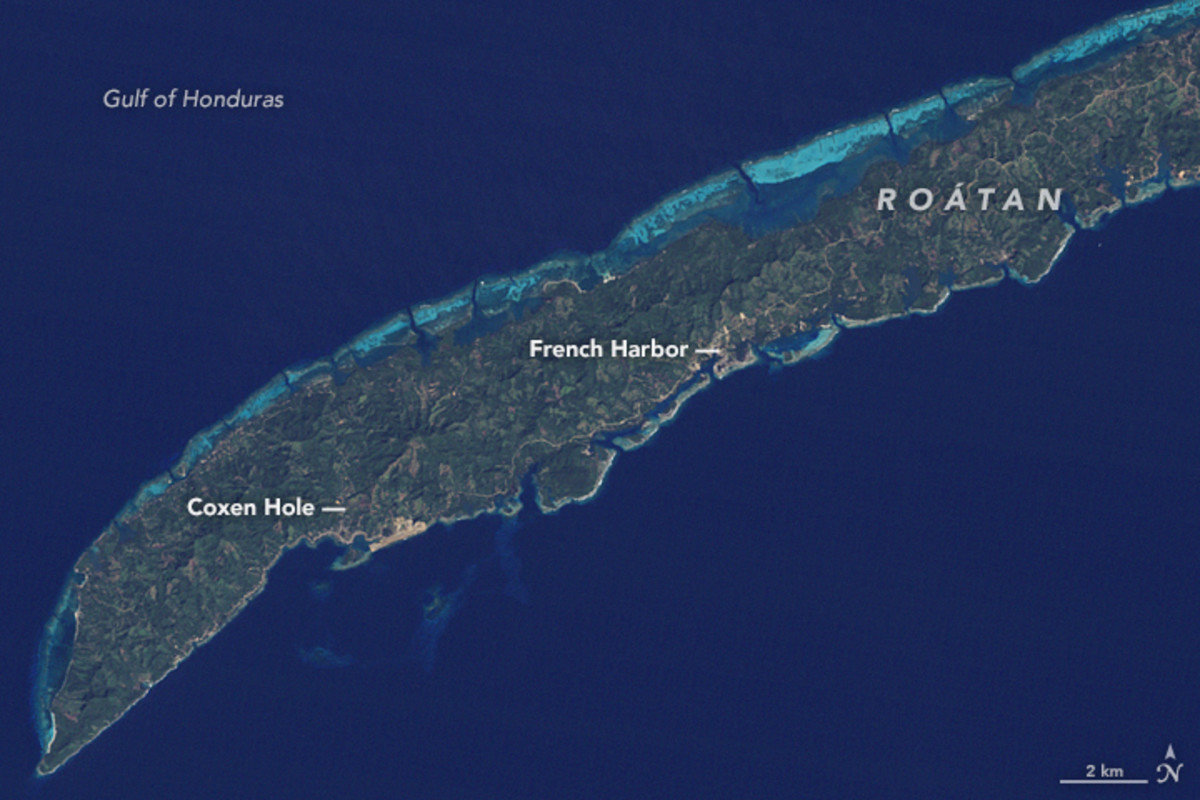 Satellite Image Of Roatn Acquired In 1985 Photo NASA