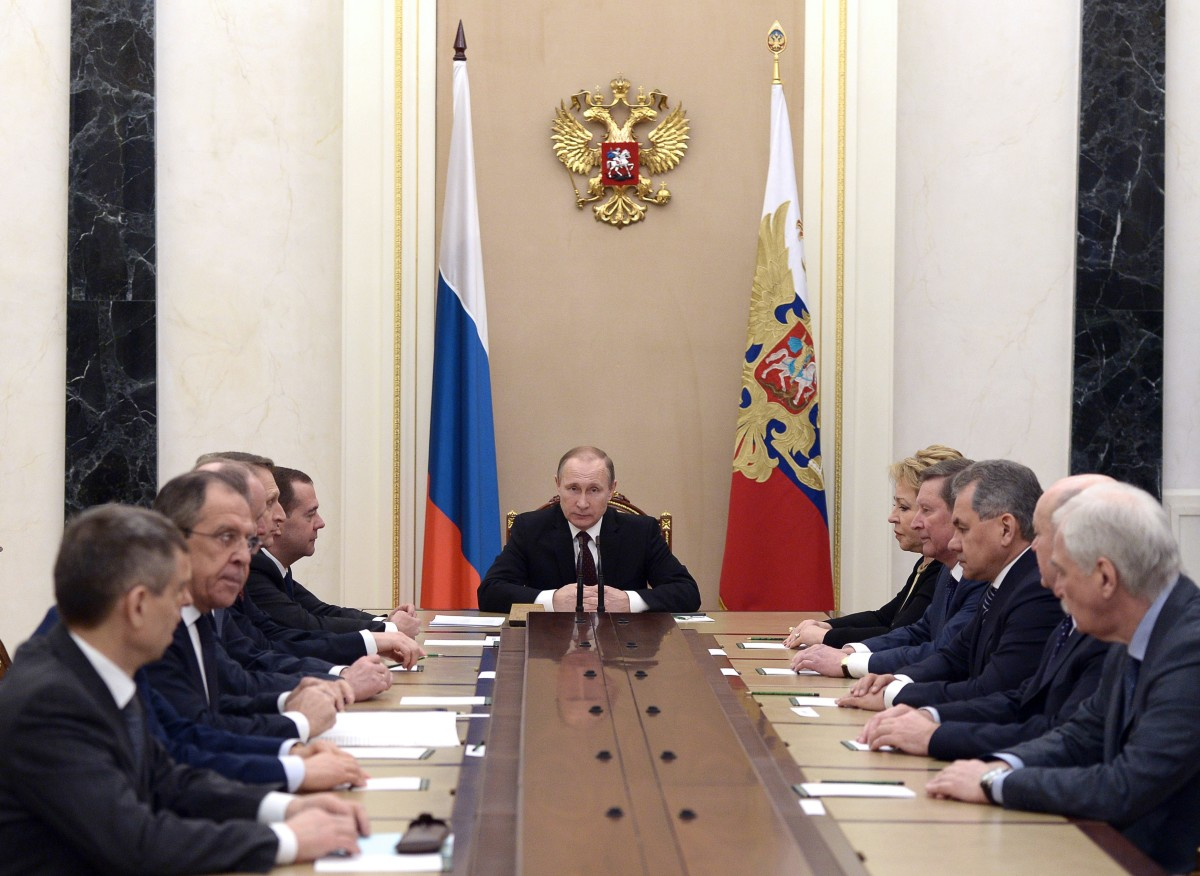 Russian President Vladimir Putin chairs a security council meeting at the Kremlin in Moscow, on February 24, 2016. (Photo: Alexei Nikolsky/AFP/Getty Images)