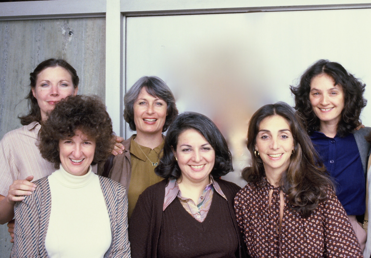 From left to right, back to front: Joelle Dobrow, Nell Cox, Susan Nimoy, Dolores Ferraro, Lynne Littman, and Vicki Hochberg in 1980. (Photo: Courtesy of Lynne Littman)