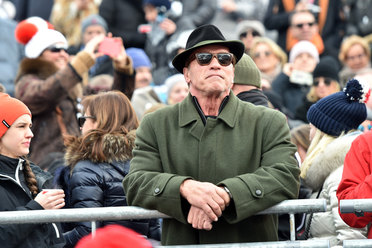 Arnold Schwarzenegger during the  Hahnenkamm race on January 23, 2016, in Kitzbuehel, Austria.  (Photo: Hannes Magerstaedt/Getty Images)