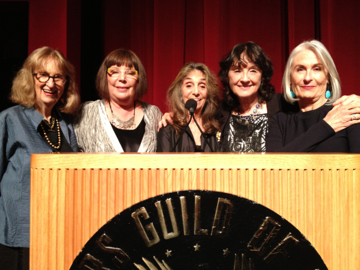 Nell Cox, Joelle Dobrow, Lynne Littman, Vicki Hochberg, and Susan Nimoy at the 35th anniversary of the Women's Steering Committee, held at the Director's Guild of America. (Photo: Courtesy of Lynne Littman)