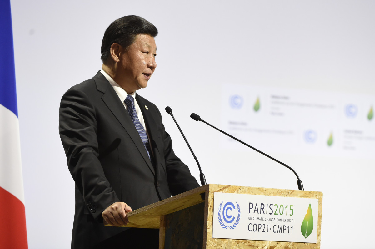 Chinese President Xi Jinping delivers a speech at the United Nations conference on climate change, November 30, 2015, at Le Bourget on the outskirts of Paris. (Photo: Alain Jocard/AFP/Getty Images)