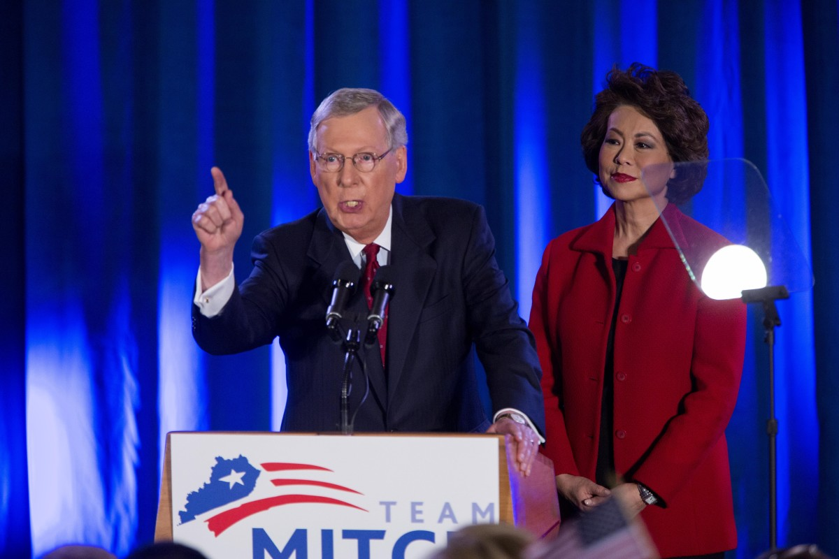 Mitch McConnell speaks at his election night event November 4, 2014, in Louisville, Kentucky. (Photo: Aaron P. Bernstein/Getty Images)