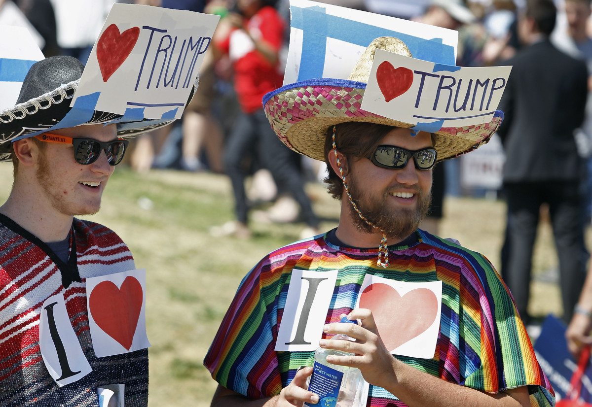 Donald Trump supporters look on during a campaign rally on March 19, 2016, in Fountain Hills, Arizona. (Photo: Ralph Freso/Getty Images)