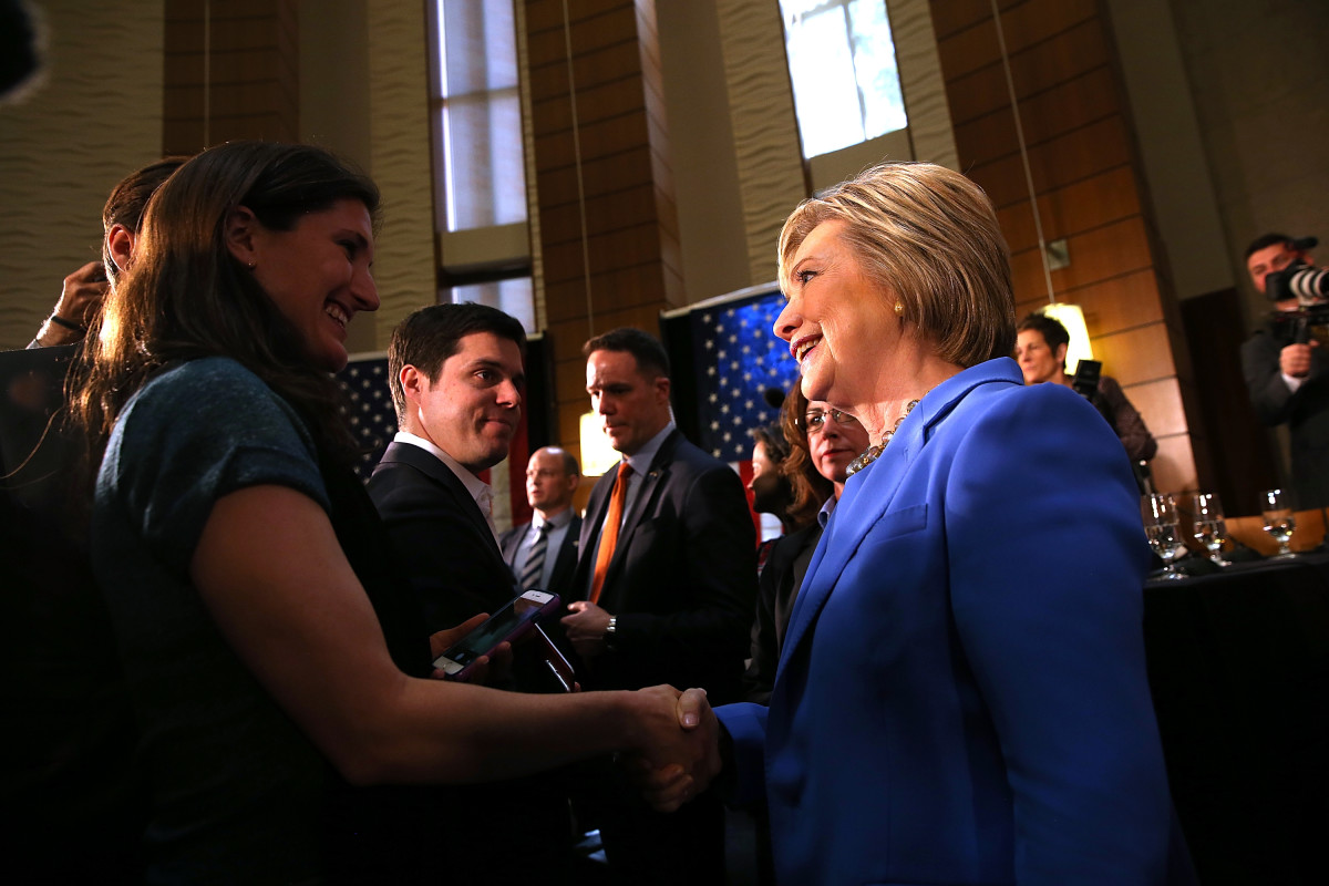 Hillary Clinton greets attendees at the conclusion of a roundtable discussion at the University of Southern California on March 24, 2016, in Los Angeles, California. (Photo: Justin Sullivan/Getty Images)