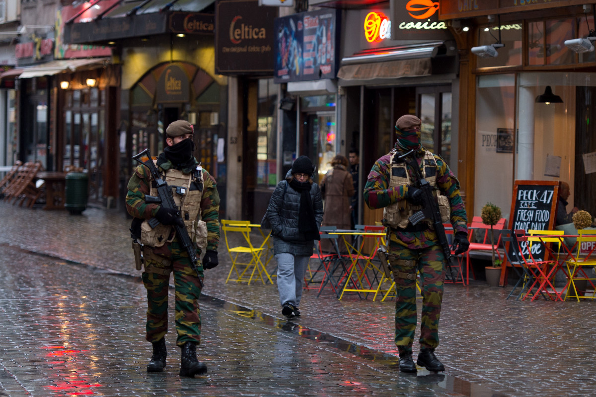 Armed policemen patrol along Rue Du  Marche Aux Poulets on November 24, 2015, in Brussels, Belgium. (Photo: Ben Pruchnie/Getty Images)