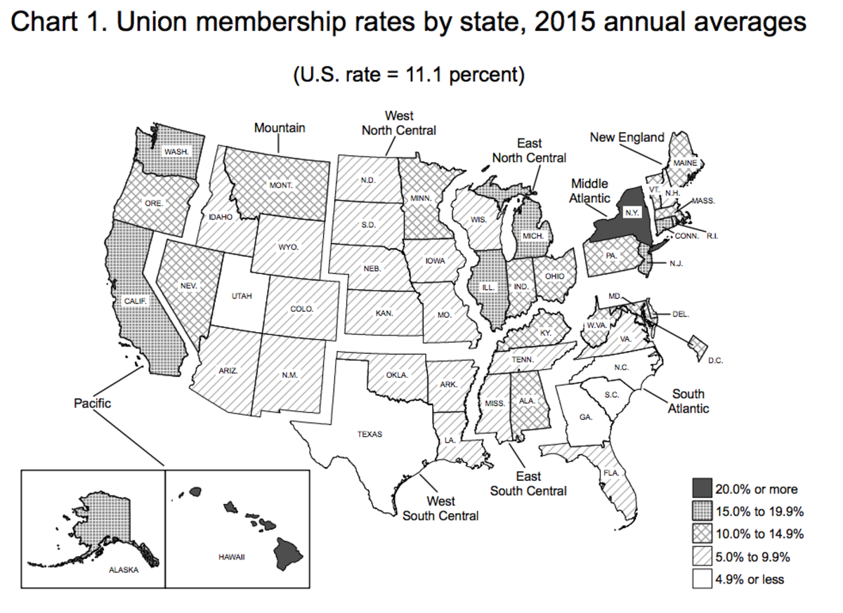 Union membership rates, accounting for both the public and private sectors. (Map: Bureau of Labor Statistics)