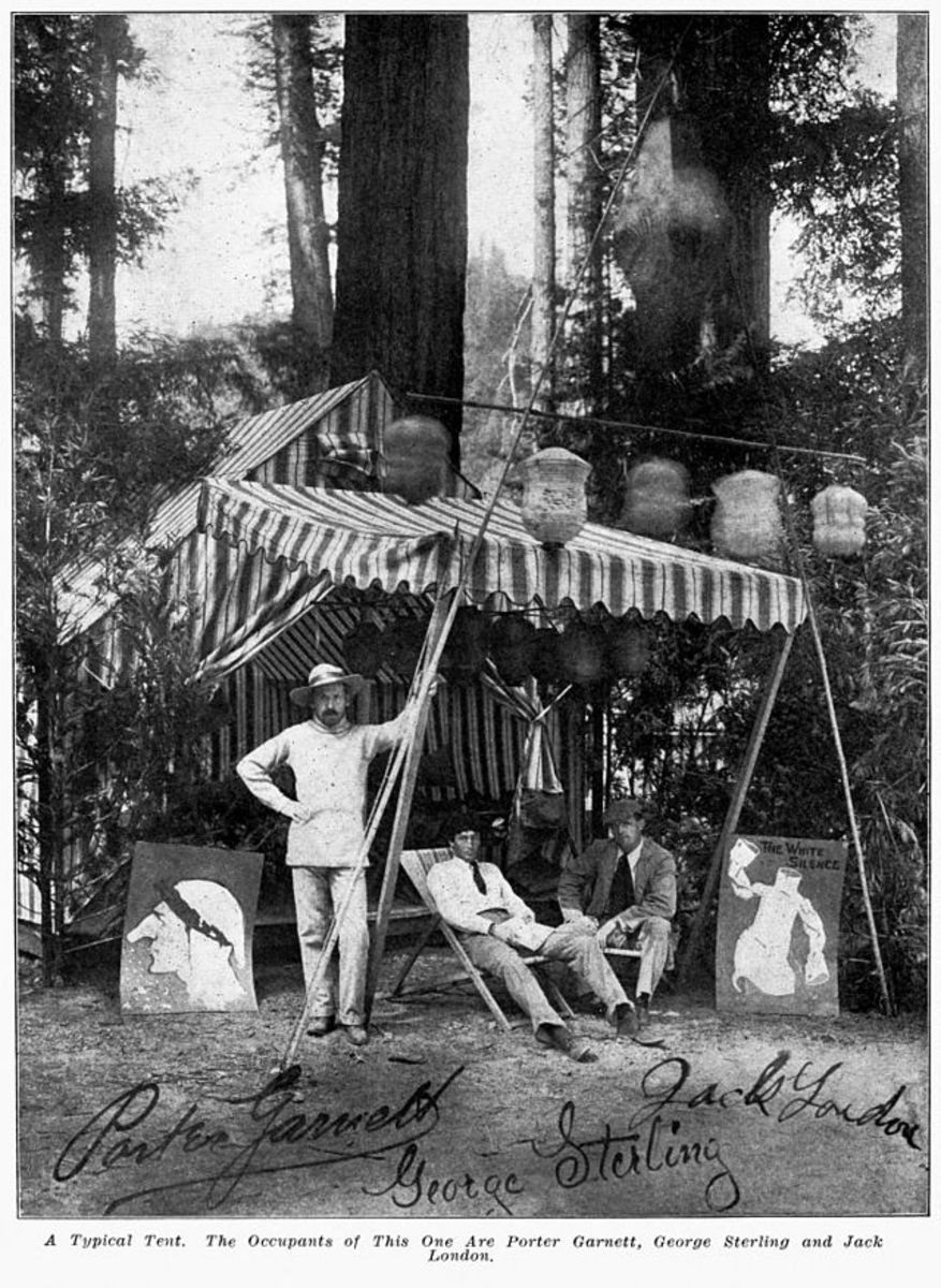 Porter Garnett, George Sterling, and Jack London gather at a tent in Bohemian Grove in the early 1900s. (Photo: Public Domain)