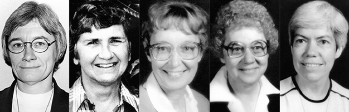 From left: Shirley Kolmer, Barbara Ann Muttra, Mary Joel Kolmer, Agnes  Mueller, Kathleen McGuire. (Photo: Adorers of the Blood of Christ)