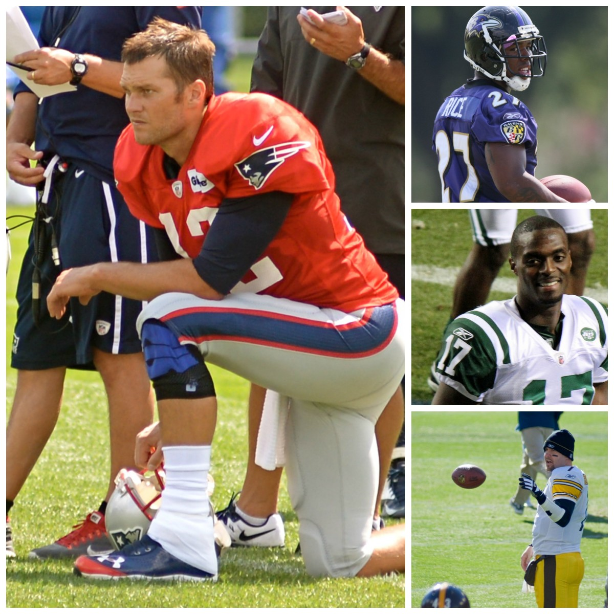 Clockwise, from left: Tom Brady (Photo: Beth Hart/Flickr); Ray Rice (Photo: Keith Allison/Flickr); Plaxico Burress (Photo: Jeffrey Beall/FLickr); and Ben Roethlisberger. (Photo: Andy McLemore/Flickr).
