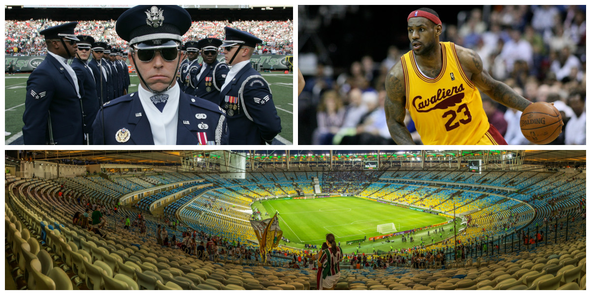 From top left, clockwise: The Air Force Honor Guard Drill Team performs at halftime of a New York Jets home game (Photo: MarineCorps NewYork/Flickr); Lebron James (Photo: Keith Allison/Flickr); and the Maracana stadium (Photo: sama093/Flickr)