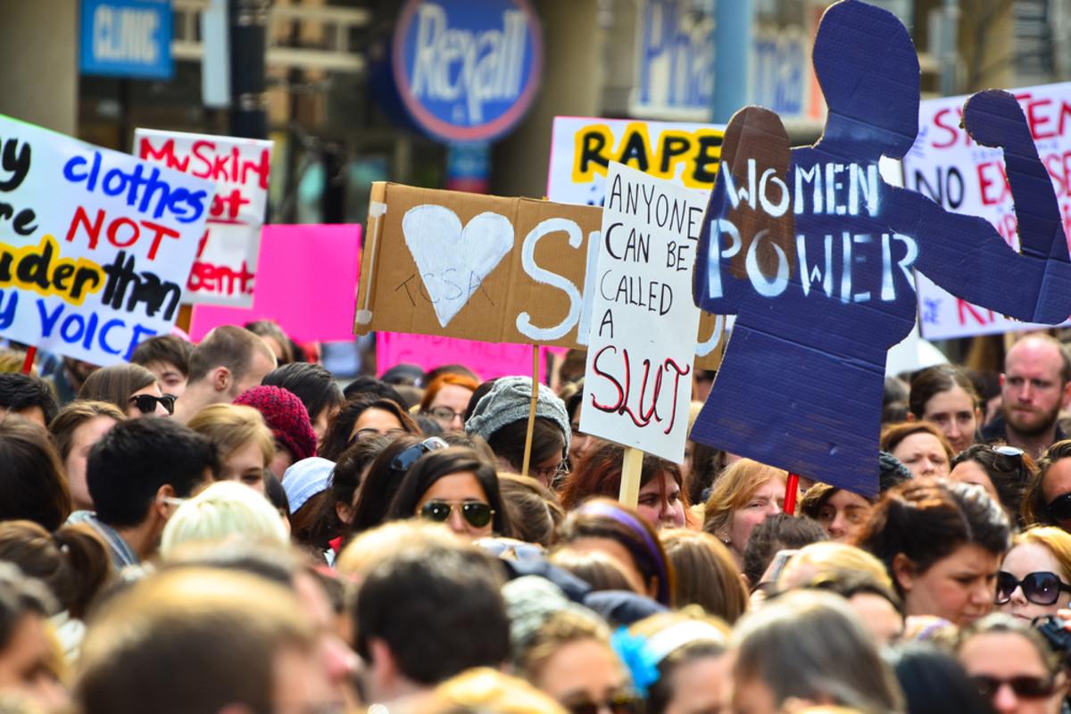 Slutwalk protesters raise awareness about victim blaming and rape myths. (Photo: Anton Bielousov/Shutterstock)