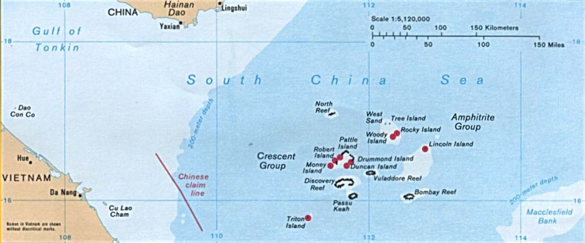 Location of Paracel Islands relative to the coastlines of China and Vietnam. (Map: Public Domain)