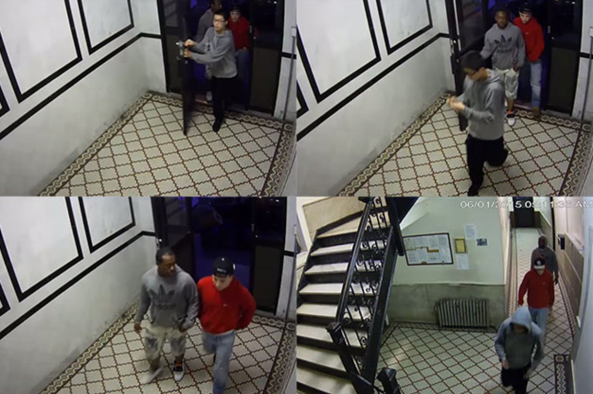 Footage of the teenagers entering an apartment building after allegedly robbing and raping a 33-year-old woman in Chinatown. (Photo: DCPI)