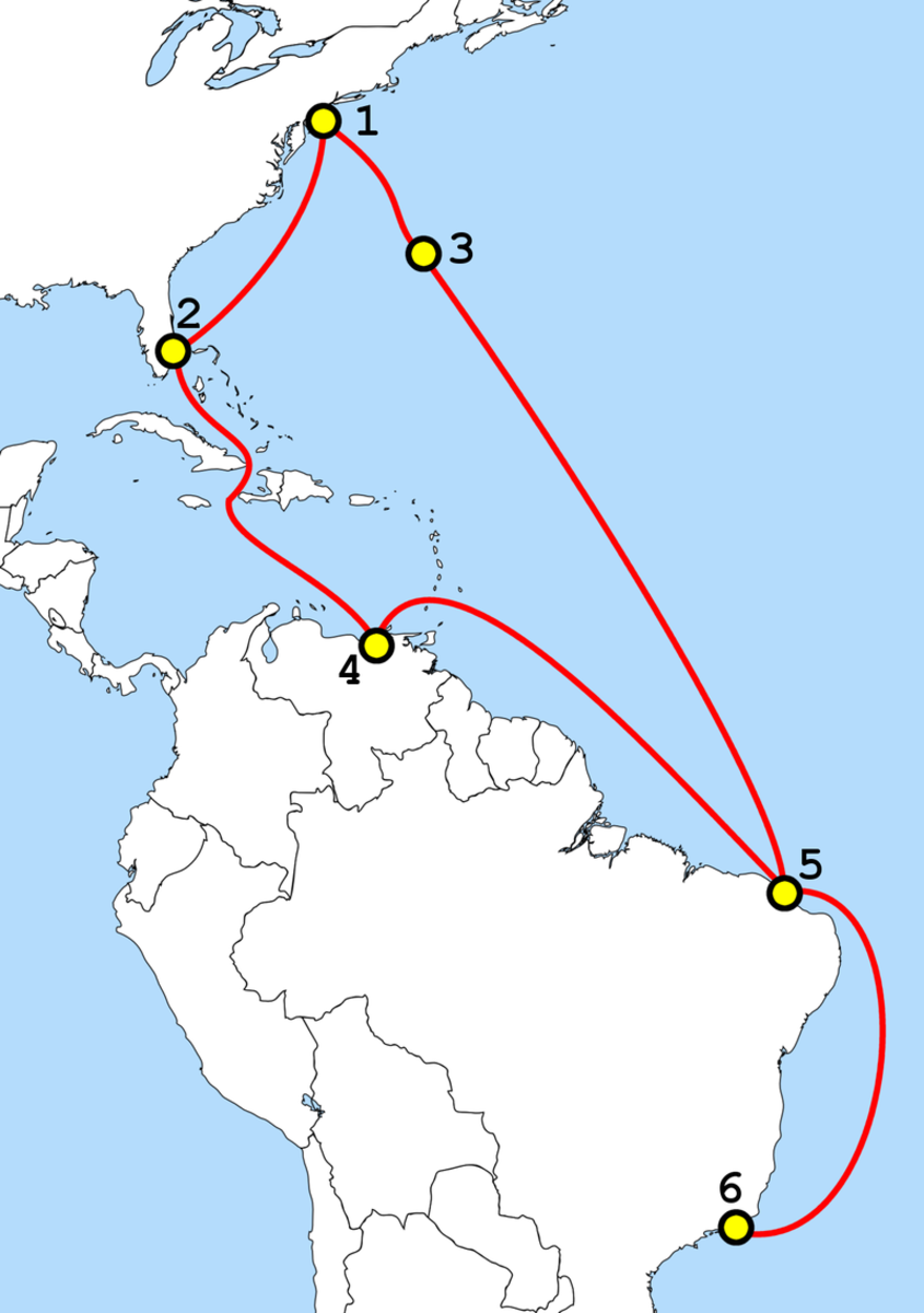 GlobeNet, a submarine telecommunications cable, passing Cuba. (Map: Atlasowa/Wikimedia Commons)