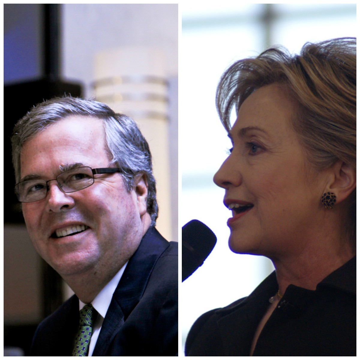 From left: Jeb Bush. (The World Affairs Council of Philadelphia/Flickr); Hillary Clinton. (Marc Nozell/Flickr)